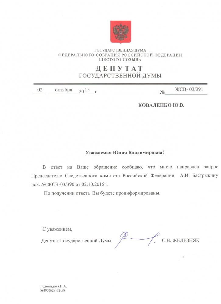 Железняк Бастрыкину, 02.10.2015