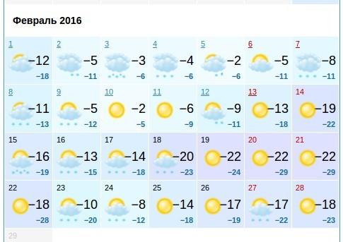 Погода на месяц