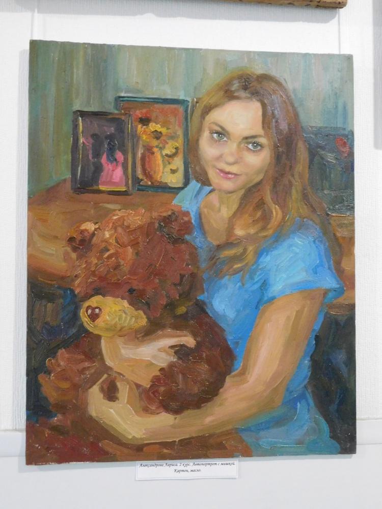 """Александрова Лариса. 2 курс """"Автопортрет с мишкой"""". Холст, масло"""