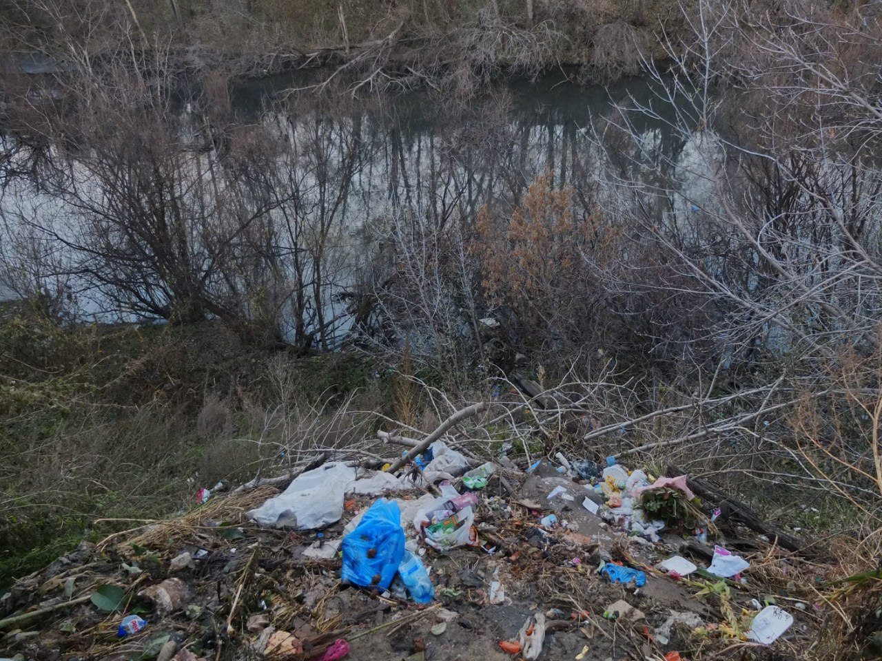 Жители частных домов сваливают мусор прямо в овраг