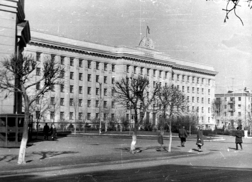 Здание Дома Советов 1970-ые года, видно, что маленькие ели уже посажены