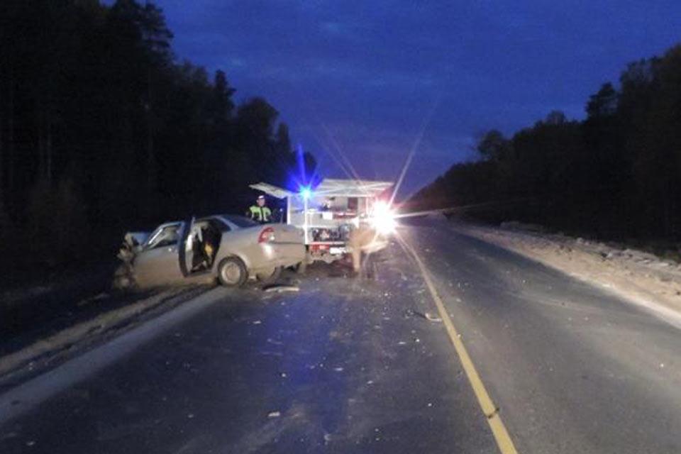 На 458-м километре федеральной автодороги Тюмень-Ханты-Мансийск в Уватском районе в темное время суток водитель автомобиля «Лада Приора» не выдержал безопасную скорость
