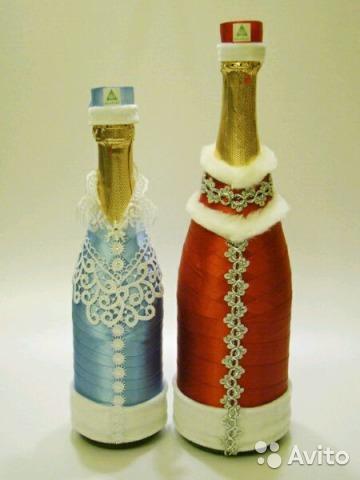 Декупаж лентами на бутылке - Декупаж бутылок яичной скорлупой: мастер-класс по