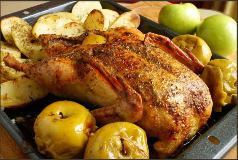 Рецепт гуся в духовке с яблоками с пошагово